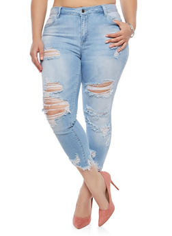 Plus Size Cello Raw Hem Jeans - 1870063151444