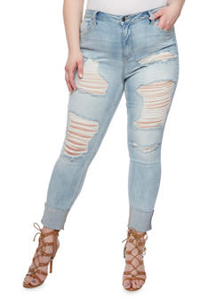 Plus Size Cello Destroyed Front Skinny Jeans - LIGHT WASH - 1870063151528