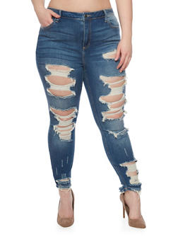Plus Size Cello Destroyed Front Skinny Jeans - MEDIUM WASH - 1870063151528