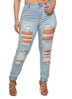 Plus Size Cello Ripped Jeans with Rolled Cuffs - 1870063151543