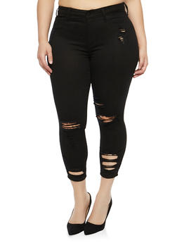 Plus Size Cello Distressed Skinny Jeans - 1870063152244