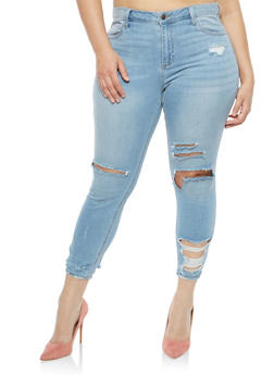 Plus Size Cello Destroyed Jeans - 1870063152444
