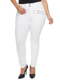 Plus Size Solid Two Button Skinny Jeans with Zippers - 1870063153910