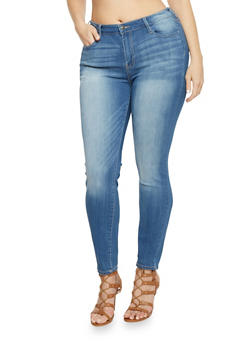 Plus Size Cello Whisker Wash Skinny Jeans - 1870063153950