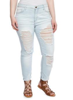 Plus Size Slashed Skinny Jeans With Whisker Wash Details,LIGHT WASH,medium