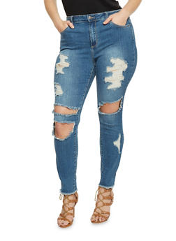 Plus Size Cello Ripped Skinny Jeans - 1870063154259