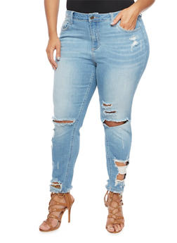Plus Size Cello Distressed Skinny Jeans - 1870063154422