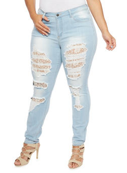 Plus Size Cello Distressed Skinny Jeans with Lace - 1870063154790