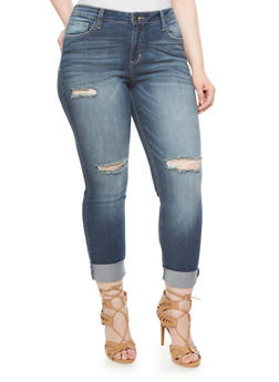 Plus Size Distressed Skinny Jeans With Rolled Cuffs - 1870063154836