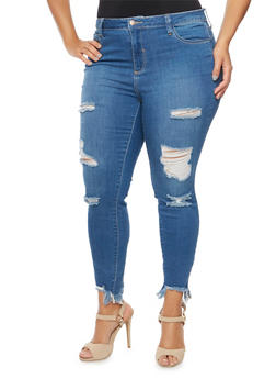 Plus Size Cello Distressed Skinny Jeans with Frayed Hems - 1870063154911