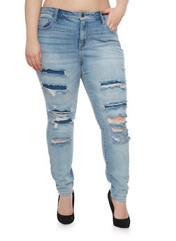 Plus Size Cello Ripped and Repaired Skinny Jeans - 1870063154913