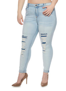 Plus Size Cello Jeans with Distressed Front - 1870063154915