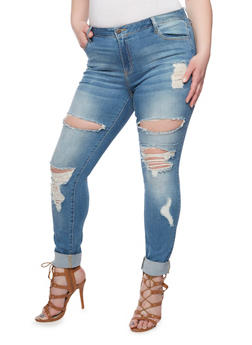Plus Size Cello Distressed Skinny Jeans - 1870063154952