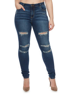 Plus Size Cello Skinny Jeans with Distressing - 1870063155019
