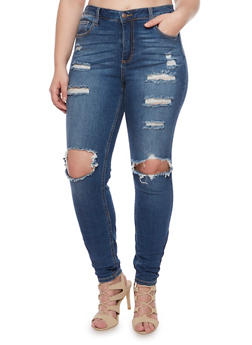 Plus Size Cello Distressed Skinny Jeans with Ripped Knees - 1870063155026