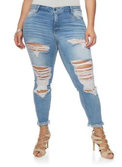 Plus Size Cello Destroyed Skinny Jeans with Frayed Hem - 1870063155236