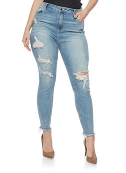 Plus Size Cello Distressed Skinny Jeans with Frayed Hem - 1870063155256