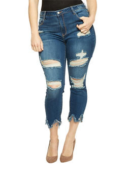 Plus Size Cello Destroyed Jeans with Sharkbite Hem - 1870063155262