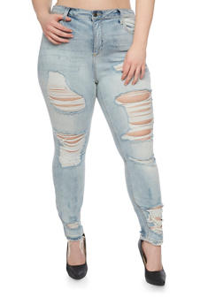 Plus Size Cello Destroyed High Waisted Jeans - 1870063155281