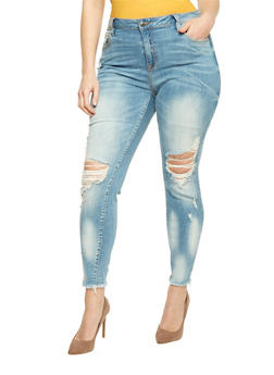 Plus Size Cello Light Wash Skinny Jeans with Frayed Hem - 1870063155282