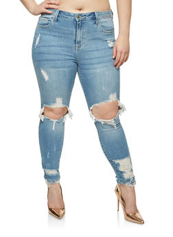Plus Size Cello Ripped Knee Jeans - 1870063155329
