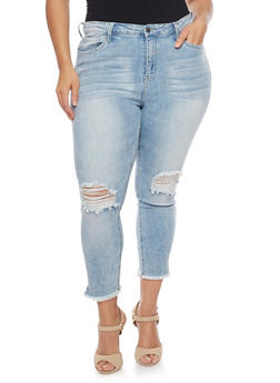 Plus Size Cello Cropped Skinny Jeans with Ripped Knees and Frayed Hems - 1870063155358