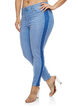 Plus Size Cello Side Stripe Skinny Jeans - 1870063155935