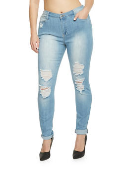 Plus Size Cello Distressed Skinny Jeans - 1870063156304