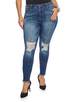 Plus Size Cello Distressed Skinny Jeans - 1870063156805