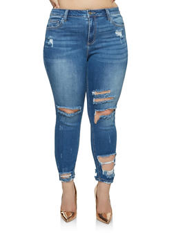 Plus Size Cello Whisker Wash Ripped Jeans - 1870063157422