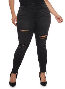 Plus Size Cello Distressed Jeans with Frayed Hem - 1870063157521
