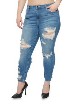 Plus Size Cello Destroyed Denim Jeans - 1870063157527