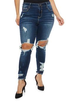 Plus Size Cello Destroyed Dark Wash Jeans - 1870063159235
