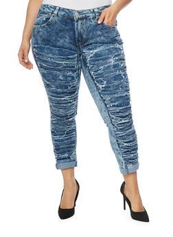 Plus Size Slashed Acid Wash Jeans - 1870063402280