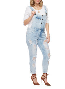 Plus Size Cloud Wash Destroyed Overalls - 1870063402708