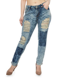 Plus Size Ripped Skinny Jeans with Patch Print - 1870063403250
