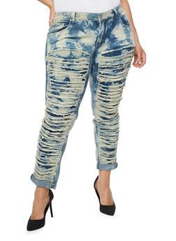 Plus Size Slashed Front Cloud Wash Jeans - 1870063403715
