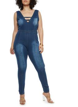 Plus Size Zip Back Denim Jumpsuit - 1870063406027
