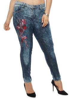 Plus Size Floral Embroidered Skinny Jeans - 1870063406218