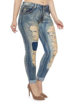 Plus Size Rip and Repair Skinny Jeans - 1870063407056