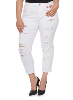 Plus Size VIP Slashed Skinny Jeans with Rolled Cuffs - 1870065300025