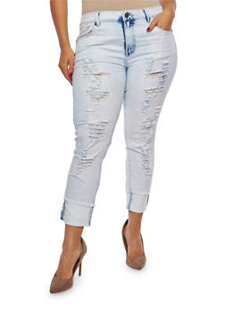 Plus Size VIP Graphic Raw Hem Skinny Jeans - 1870065300301