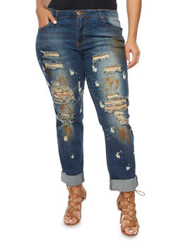Plus Size VIP Jeans with Distressed Front - 1870065300350