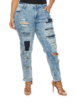 Plus Size Acid Wash Jeans with Distressed Front - 1870065300366