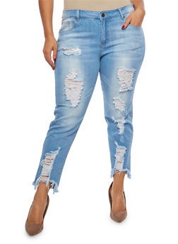 Plus Size VIP Frayed Hem Skinny Jeans - 1870065300368