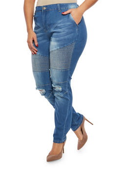 Plus Size VIP Ripped Knee Moto Jeans - 1870065300523