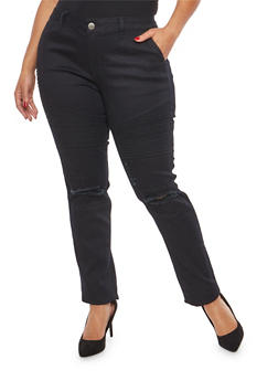 Plus Size VIP Black Ripped Knee Moto Jeans - 1870065300524