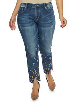 Plus Size VIP Floral Embroidered Jeans - 1870065300552