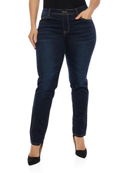Plus Size VIP Whisker Wash Skinny Jeans - 1870065300666
