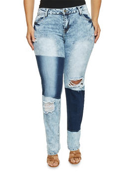 Plus Size VIP Acid Wash Patch Print Jeans - 1870065301269